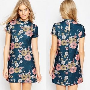 ASOS Mod High Neck Floral Textured Mini Dress